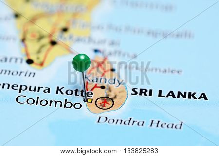 Colombo pinned on a map of Sri Lanka