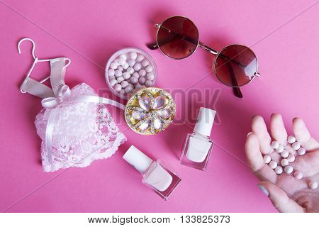 girl, summer, pink, pink combine, girl combine, cosmetics, cosmetic, girl cosmetic, pink cosmetic, make up, glasses, lacquer, pastel lacquer
