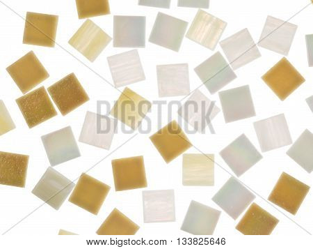 beautiful matte white square glass light translucent pearl and sand mosaic with light blurred stripes scattered on a white background isolated