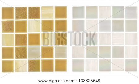 beautiful matte white square glass light translucent pearly sand and blurred mosaic with light stripes on a white background isolated