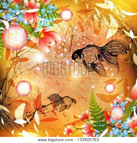 Fantasy Nature Abstract Background With Fish and Flowers
