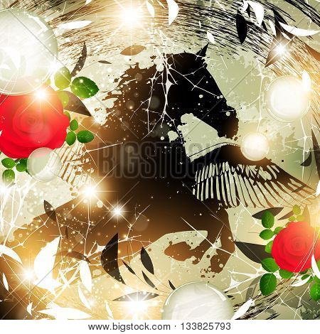 Fantasy Nature Abstract Background With Flying Horse