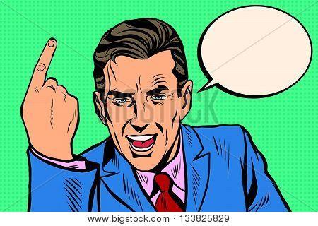 speaker businessman pointing finger pop art retro vector. Index finger. Promo people