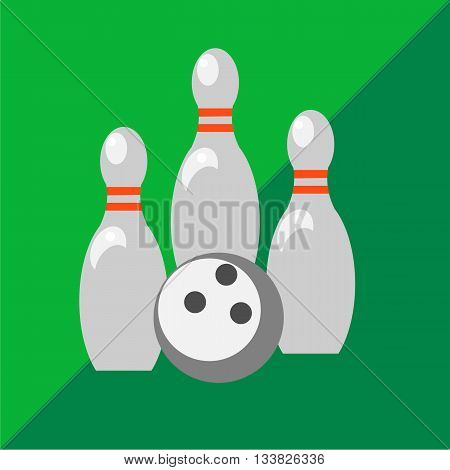 Skittles and bowling ball on two-tone background. Picture style flat