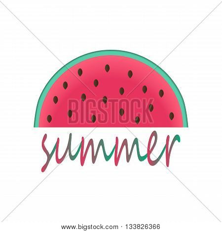 illustration of watermelon with the word summer/ watermelon vector/ watermelon icon/ slice of watermelon