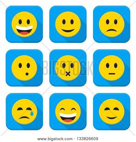 Yellow Smiley Faces Squared App Icon Set