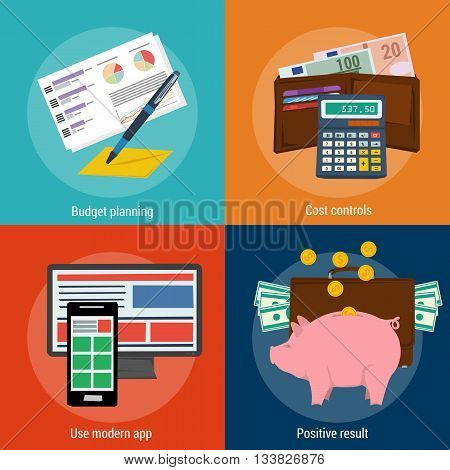 Vector four business concept. Budget planning cost control use modern app and positive result. Flat style. Web infographics. Banners for advertising and background