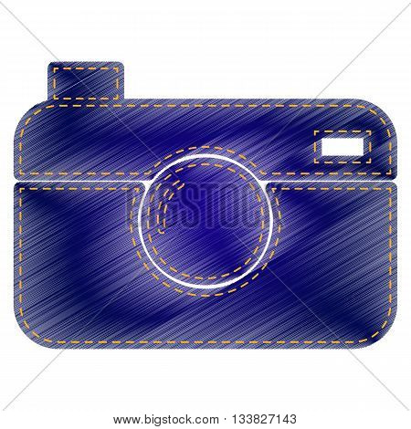 Digital photo camera sign. Jeans style icon on white background.