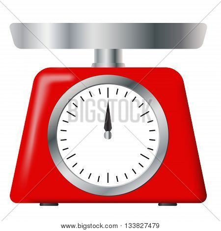 Kitchen and home appliances or measuring tool. Red weight scale on white background. Weighing scales with pan and dial for weight measurement. Vector image.