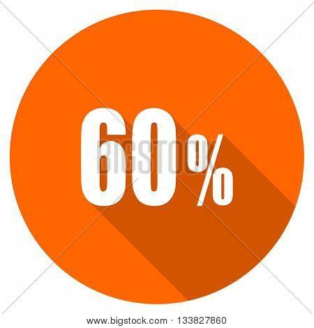 60 percent vector icon, orange circle flat design internet button, web and mobile app illustration