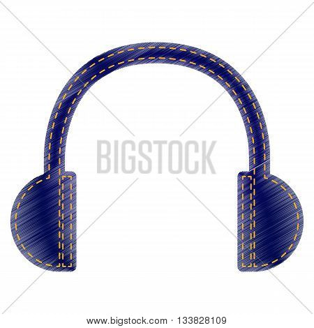 Headphones sign illustration. Jeans style icon on white background.
