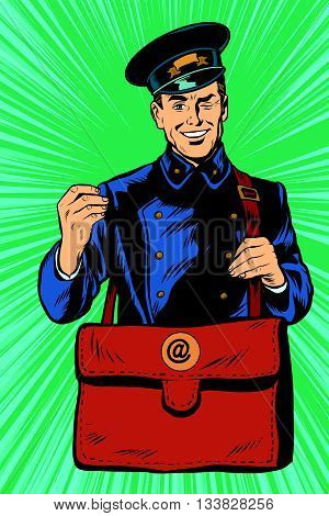Cheerful postman pop art retro vector. Friendly postman in blue uniform with bag
