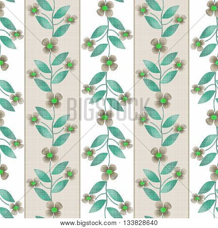 Floral seamless pattern in retro style cute small flowers on striped background