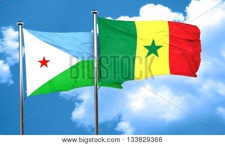 Djibouti flag with Senegal flag, 3D rendering