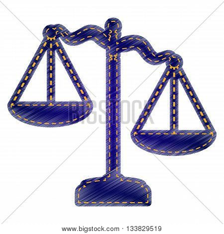Scales of Justice sign. Jeans style icon on white background.