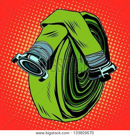 Retro green fire hose pop art vector. The fight against fire. realistic illustration