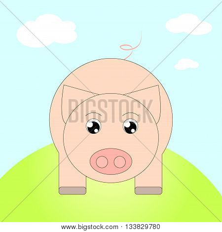 Funny Simple Illustration of a Cartoon Pig