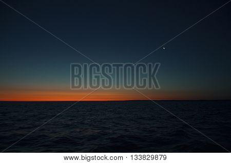 Dawning at fishing boot, Poland morning, summer