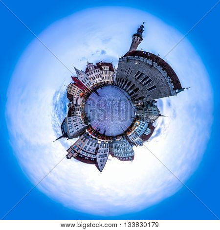 Evening view of Tallinn Town Hall Square or Old Market Square, Estonia. 360 degree miniplanet