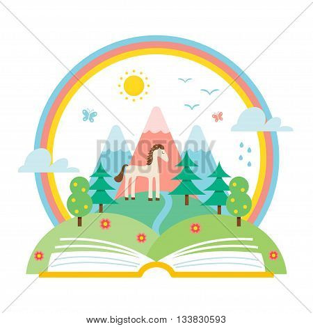 Open Book and Nature Landscape of Hills and Rainbow. Science and Nature Study Illustration. Ecology and Environment Protection