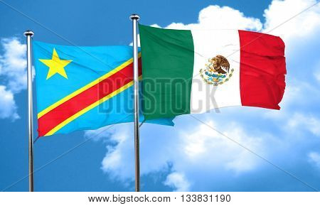 Democratic republic of the congo flag with Mexico flag, 3D rende
