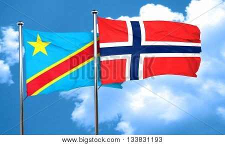 Democratic republic of the congo flag with Norway flag, 3D rende