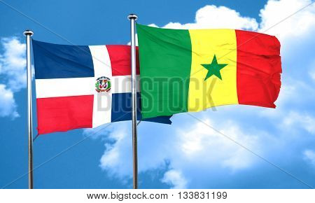 dominican republic flag with Senegal flag, 3D rendering