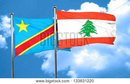 Democratic republic of the congo flag with Lebanon flag, 3D rend