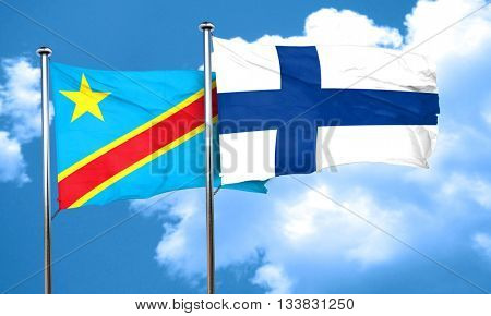 Democratic republic of the congo flag with Finland flag, 3D rend