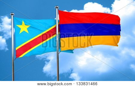 Democratic republic of the congo flag with Armenia flag, 3D rend