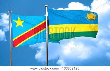 Democratic republic of the congo flag with rwanda flag, 3D rende