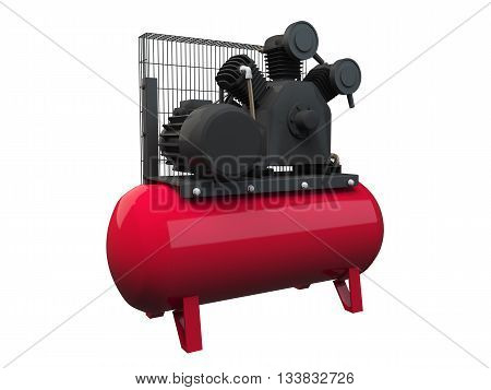 3D rendering air compressor isolated on white background