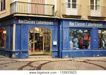 Valence France - april 13 2016 : a picturesque cloth shop