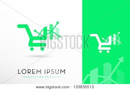 Shopping cart Incorporated with statistics bars and arrows , VECTOR LOGO / ICON