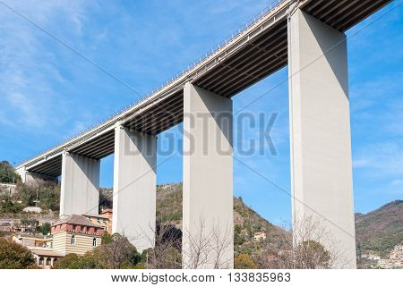 Bottom view of a viaduct in Italy