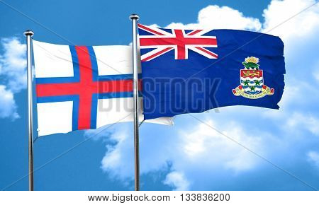 faroe islands flag with Cayman islands flag, 3D rendering