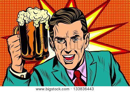 Emotional vintage man with beer pop art retro vector. Fan in bar. Burst background