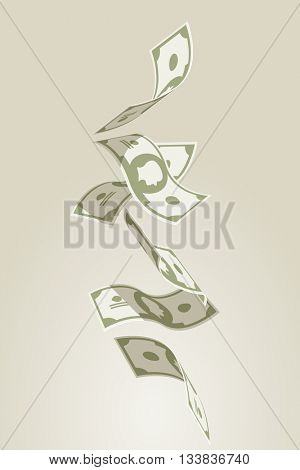 Vector illustration of falling flying banknotes.