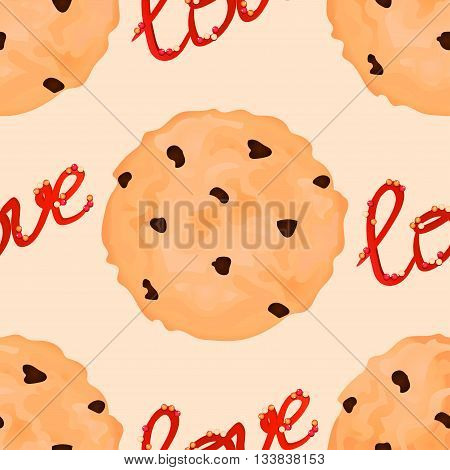 Sweet pattern with cookies and graphic love