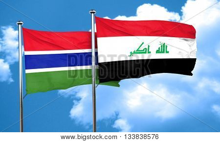 Gambia flag with Iraq flag, 3D rendering
