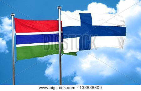 Gambia flag with Finland flag, 3D rendering