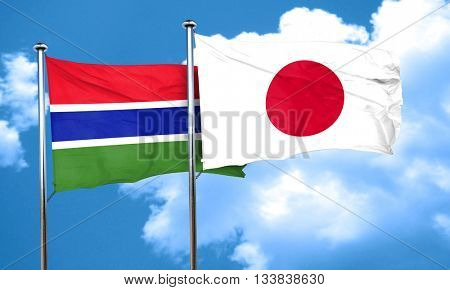 Gambia flag with Japan flag, 3D rendering