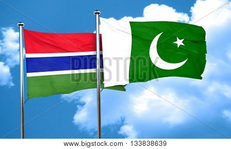 Gambia flag with Pakistan flag, 3D rendering
