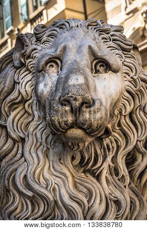 Lion Statue Of San Lorenzo Cathedral, Duomo Di Genoa, Liguria, Italy