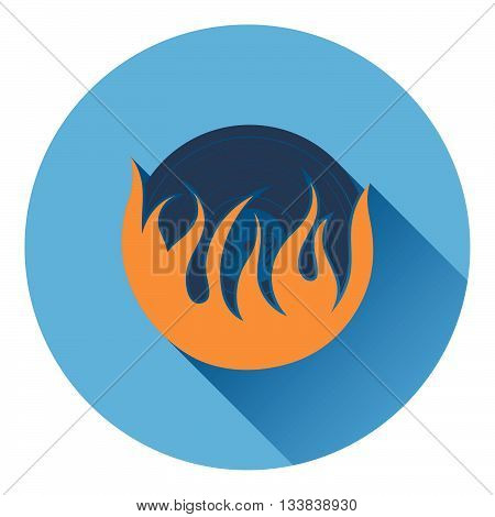 Flame vinyl icon. Flat design in UI colors. Vector illustration.