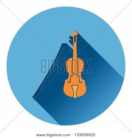 Violin icon. Flat design in UI colors. Vector illustration.