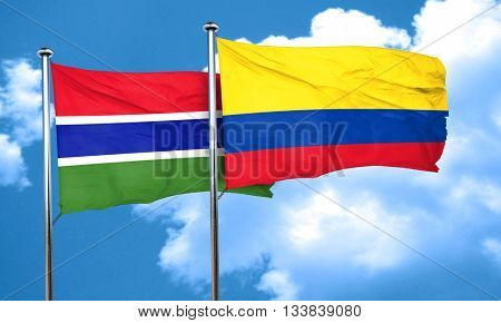 Gambia flag with Colombia flag, 3D rendering