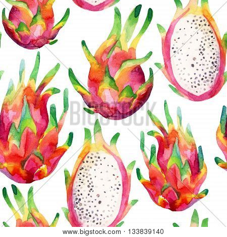 Watercolor dragon fruit seamless pattern on white background. Watercolor pitaya background. Hand painted exotic fruit illustration