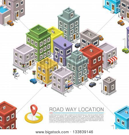 Road in the cityscape Isometric, City location apartment