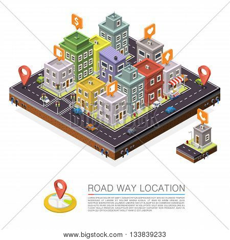 Road in the city Isometric, cityscape location